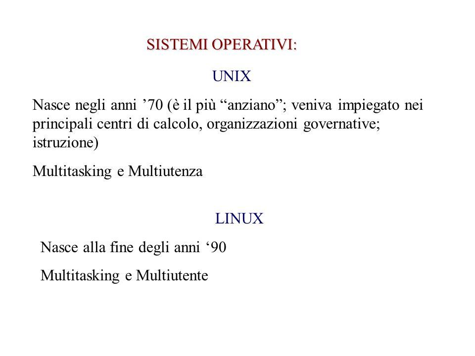 SISTEMI OPERATIVI: UNIX Nasce negli anni 70 (è il più anziano; veniva impiegato nei principali centri di calcolo, organizzazioni governative; istruzione) Multitasking e Multiutenza LINUX Nasce alla fine degli anni 90 Multitasking e Multiutente