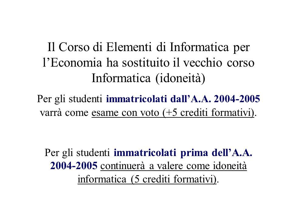 Il Corso di Elementi di Informatica per lEconomia ha sostituito il vecchio corso Informatica (idoneità) Per gli studenti immatricolati dallA.A.