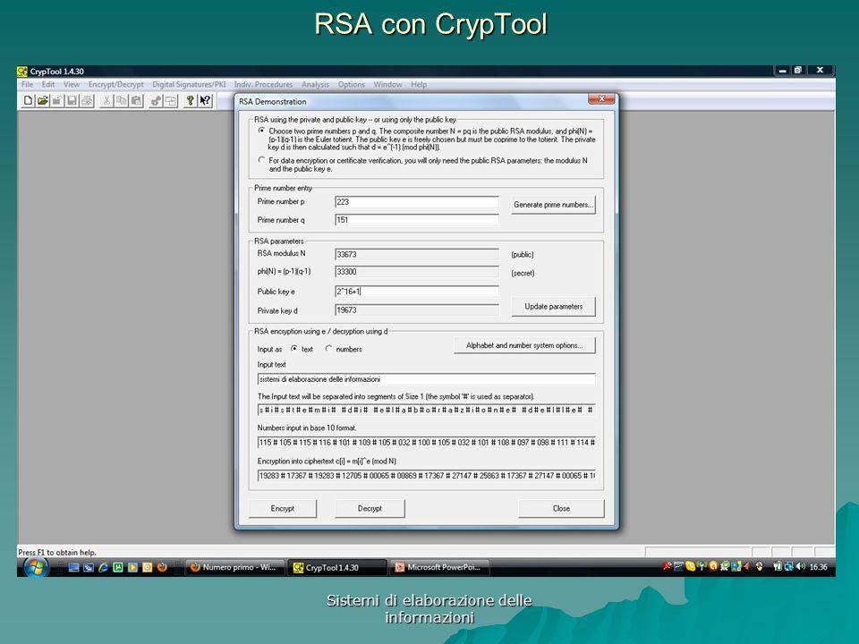 Sistemi di elaborazione delle informazioni RSA con CrypTool