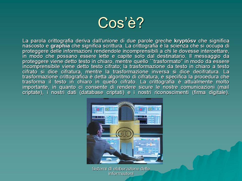 Sistemi di elaborazione delle informazioni Cosè? La parola crittografia deriva dall'unione di due parole greche kryptósv che significa nascosto e grap