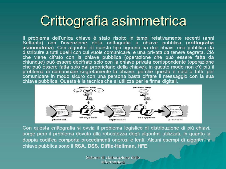 Sistemi di elaborazione delle informazioni Crittografia asimmetrica Il problema dellunica chiave è stato risolto in tempi relativamente recenti (anni