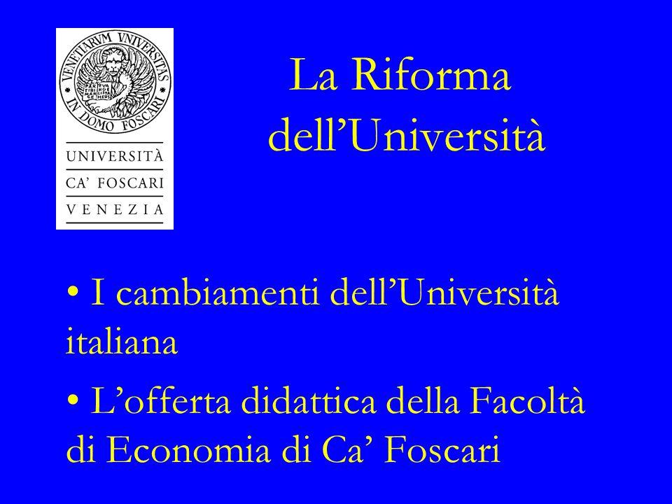 La Riforma dellUniversità I cambiamenti dellUniversità italiana Lofferta didattica della Facoltà di Economia di Ca Foscari