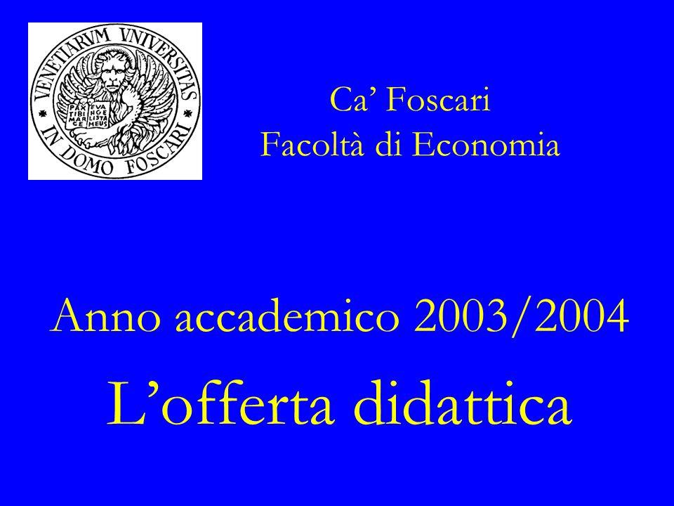 Ca Foscari Facoltà di Economia Anno accademico 2003/2004 Lofferta didattica