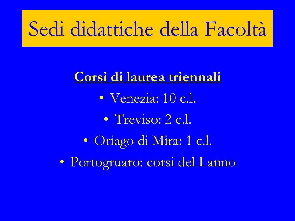 Sedi didattiche della Facoltà Corsi di laurea triennali Venezia: 10 c.l. Treviso: 2 c.l. Oriago di Mira: 1 c.l. Portogruaro: corsi del I anno