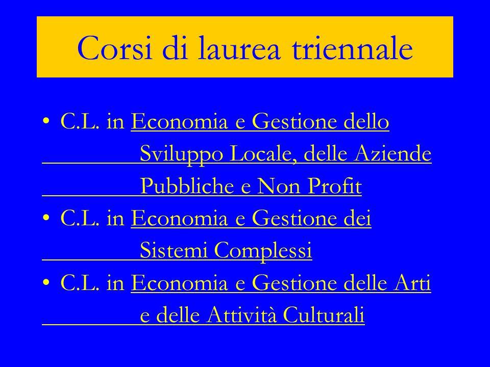 C.L. in Economia e Gestione delloEconomia e Gestione dello Sviluppo Locale, delle Aziende Pubbliche e Non Profit C.L. in Economia e Gestione deiEconom