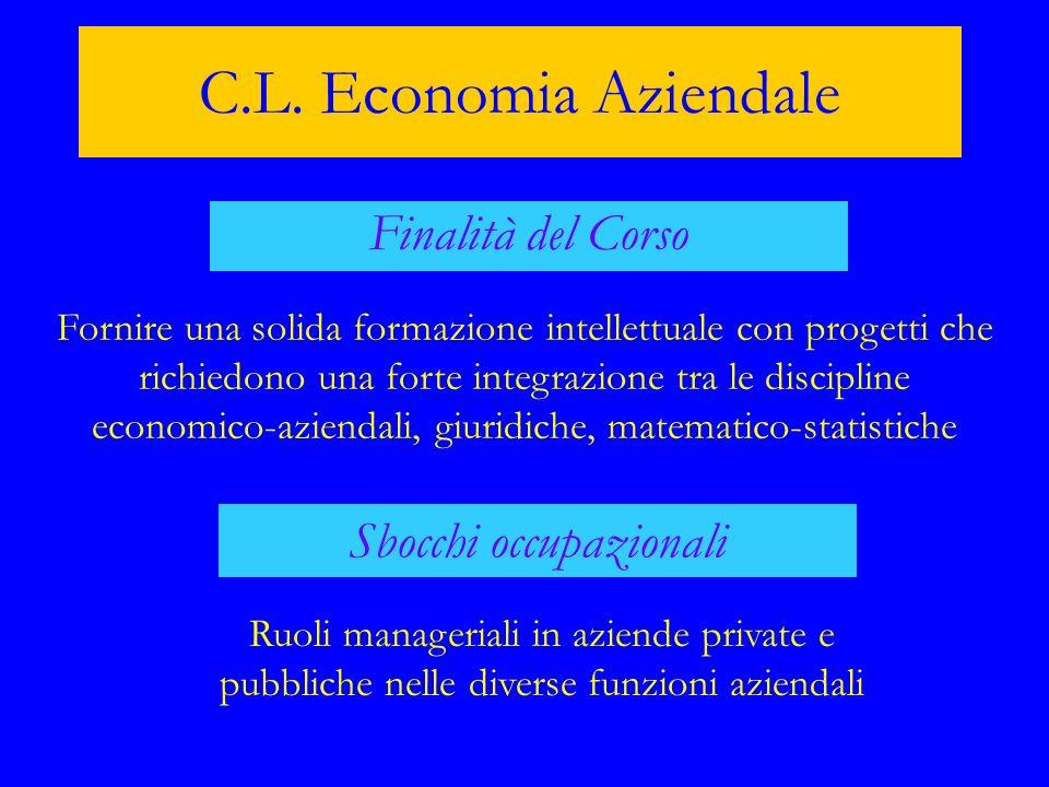 C.L. Economia Aziendale Finalità del Corso Fornire una solida formazione intellettuale con progetti che richiedono una forte integrazione tra le disci
