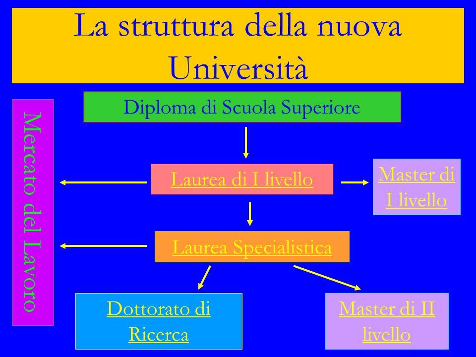 La struttura della nuova Università Diploma di Scuola Superiore Mercato del Lavoro Laurea Specialistica Dottorato di Ricerca Master di I livello Maste