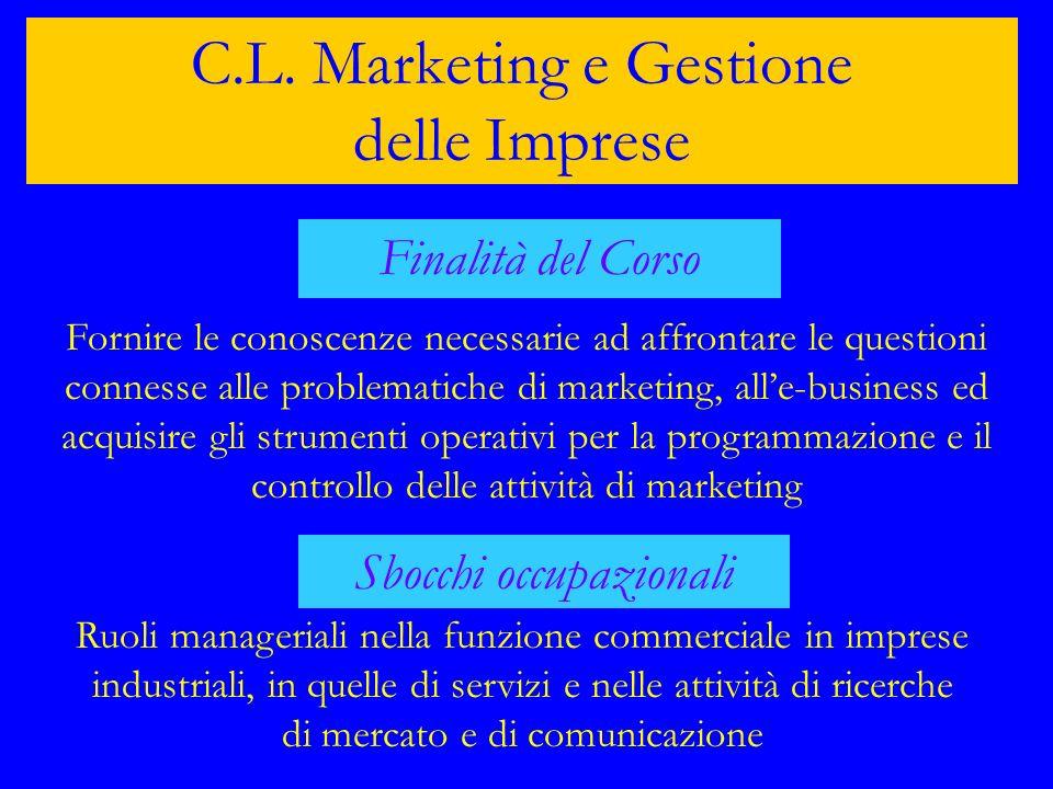 C.L. Marketing e Gestione delle Imprese Finalità del Corso Fornire le conoscenze necessarie ad affrontare le questioni connesse alle problematiche di