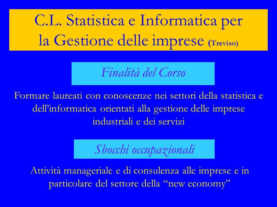 C.L. Statistica e Informatica per la Gestione delle imprese ( Treviso) Finalità del Corso Formare laureati con conoscenze nei settori della statistica