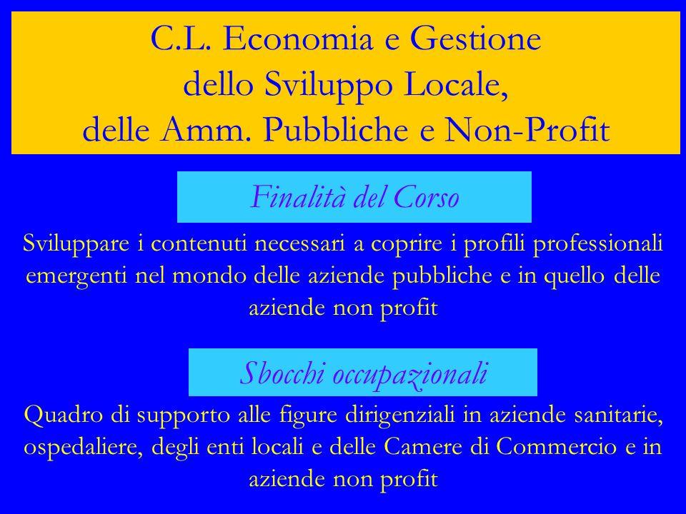 C.L. Economia e Gestione dello Sviluppo Locale, delle Amm. Pubbliche e Non-Profit Finalità del Corso Sviluppare i contenuti necessari a coprire i prof