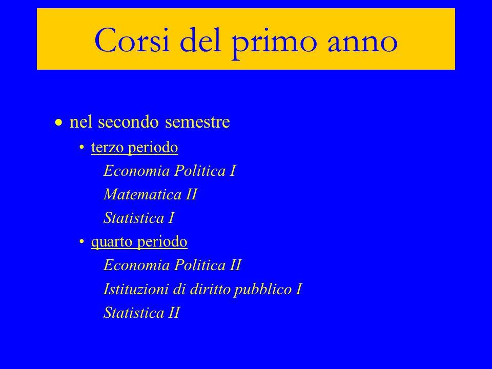 Corsi del primo anno nel secondo semestre terzo periodo Economia Politica I Matematica II Statistica I quarto periodo Economia Politica II Istituzioni