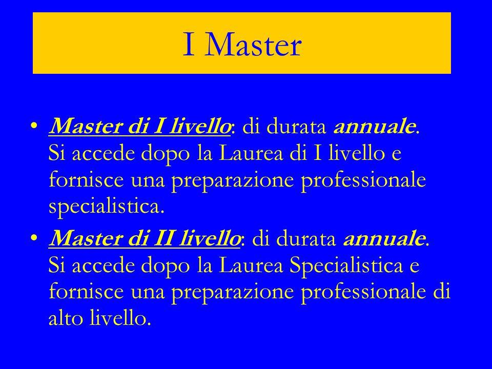 I Master Master di I livello: di durata annuale. Si accede dopo la Laurea di I livello e fornisce una preparazione professionale specialistica.Master