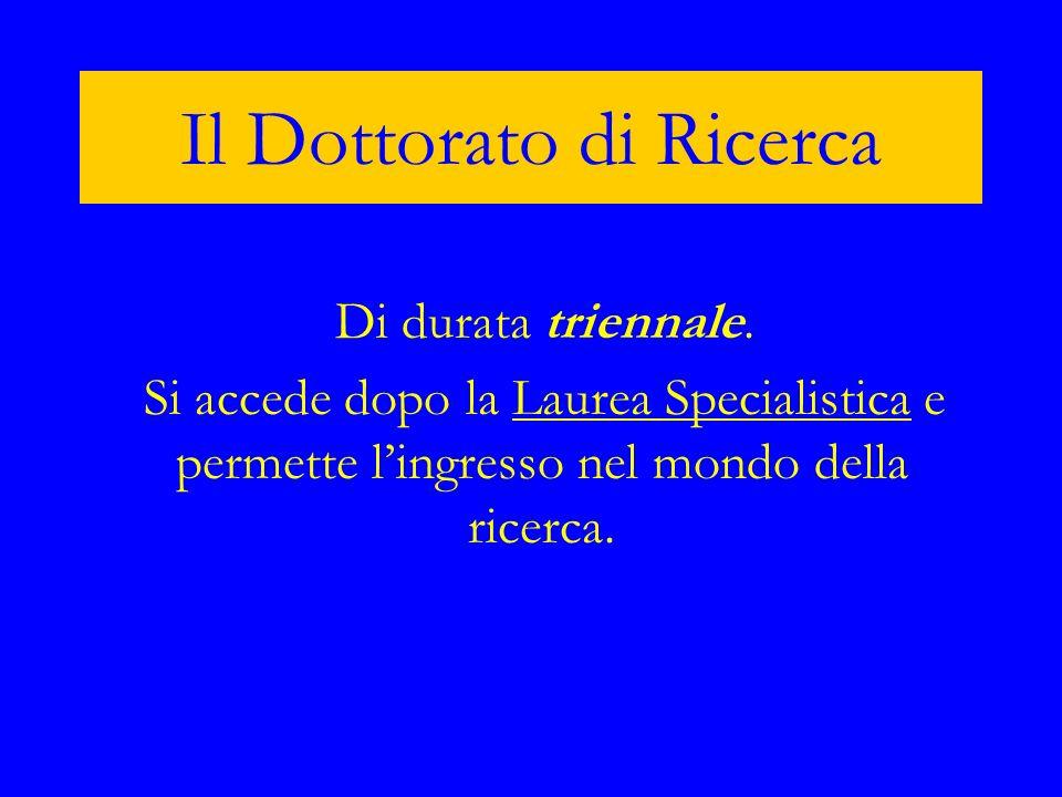 Il Dottorato di Ricerca Di durata triennale. Si accede dopo la Laurea Specialistica e permette lingresso nel mondo della ricerca.Laurea Specialistica