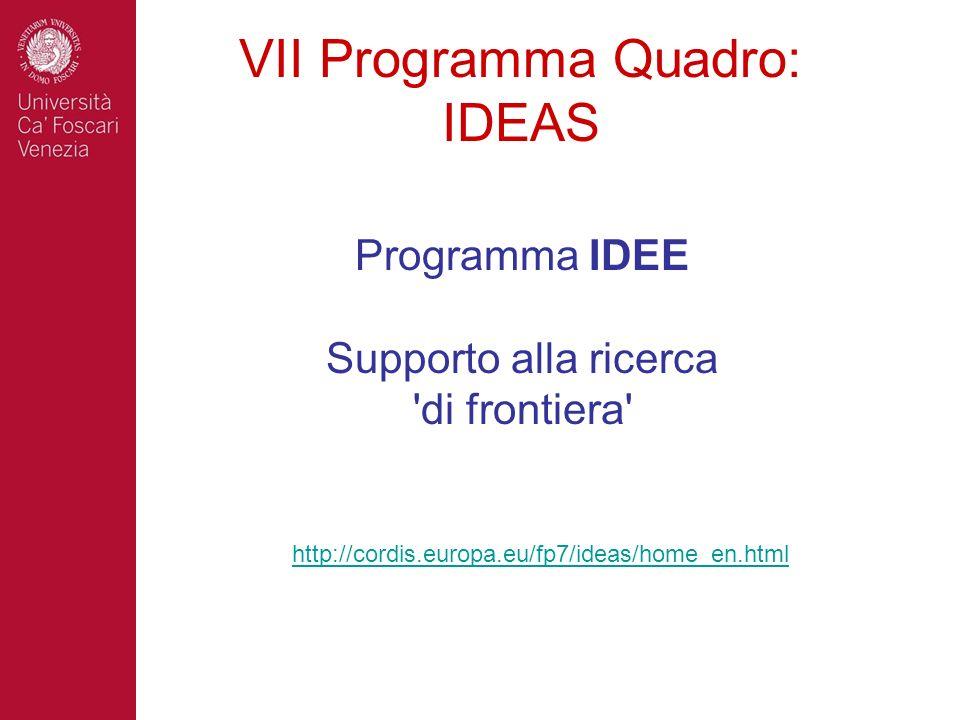 VII Programma Quadro: IDEAS Programma IDEE Supporto alla ricerca 'di frontiera' http://cordis.europa.eu/fp7/ideas/home_en.html