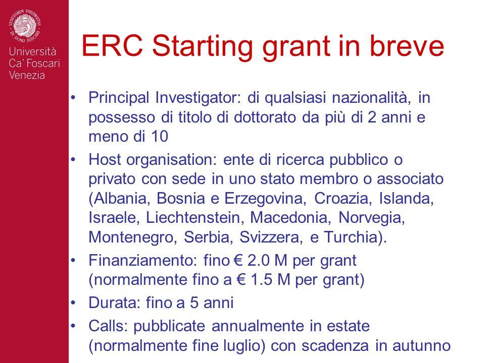 ERC Starting grant in breve Principal Investigator: di qualsiasi nazionalità, in possesso di titolo di dottorato da più di 2 anni e meno di 10 Host or