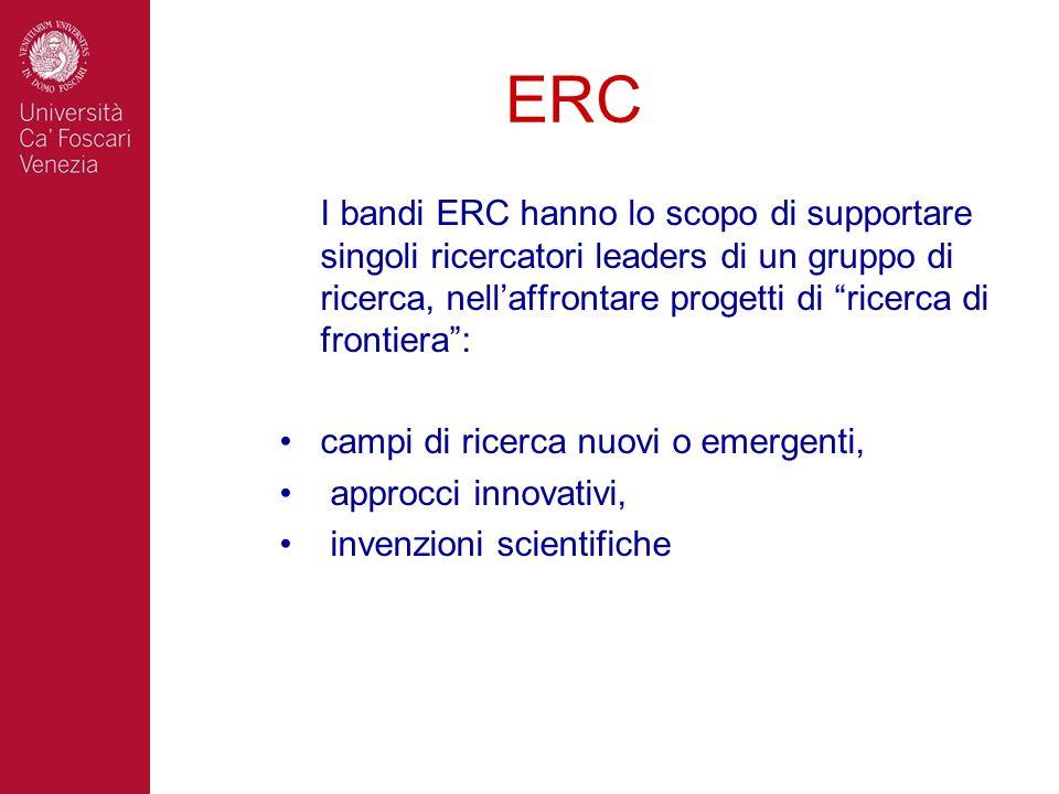 ERC I bandi ERC hanno lo scopo di supportare singoli ricercatori leaders di un gruppo di ricerca, nellaffrontare progetti di ricerca di frontiera: cam