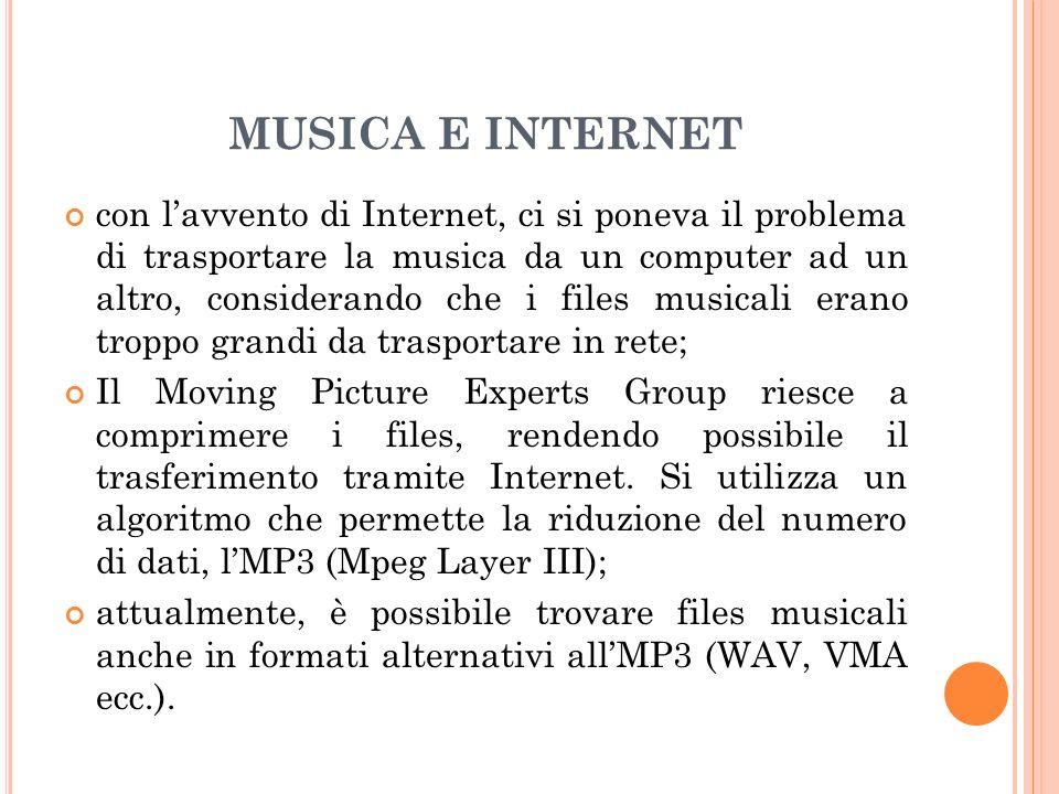 MUSICA E INTERNET con lavvento di Internet, ci si poneva il problema di trasportare la musica da un computer ad un altro, considerando che i files mus