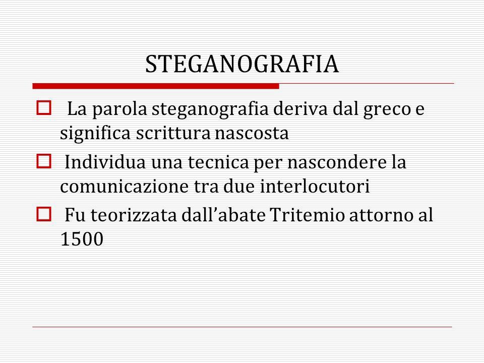 La parola steganografia deriva dal greco e significa scrittura nascosta Individua una tecnica per nascondere la comunicazione tra due interlocutori Fu teorizzata dallabate Tritemio attorno al 1500 STEGANOGRAFIA