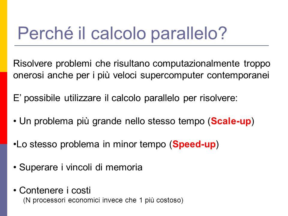 Perché il calcolo parallelo? Risolvere problemi che risultano computazionalmente troppo onerosi anche per i più veloci supercomputer contemporanei E p
