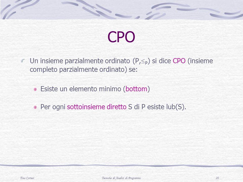 Tino CortesiTecniche di Analisi di Programmi 20 CPO Un insieme parzialmente ordinato (P, P ) si dice CPO (insieme completo parzialmente ordinato) se:
