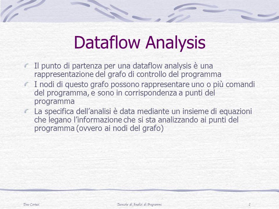 Tino CortesiTecniche di Analisi di Programmi 33 Esercizio Analizzare il flusso del seguente programma: disegnare il grafo di controllo calcolare live-in e live-out di ogni comando costruire il grafo di interferenza 1.