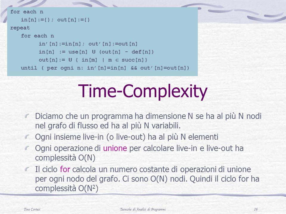 Tino CortesiTecniche di Analisi di Programmi 26 Time-Complexity Diciamo che un programma ha dimensione N se ha al più N nodi nel grafo di flusso ed ha al più N variabili.