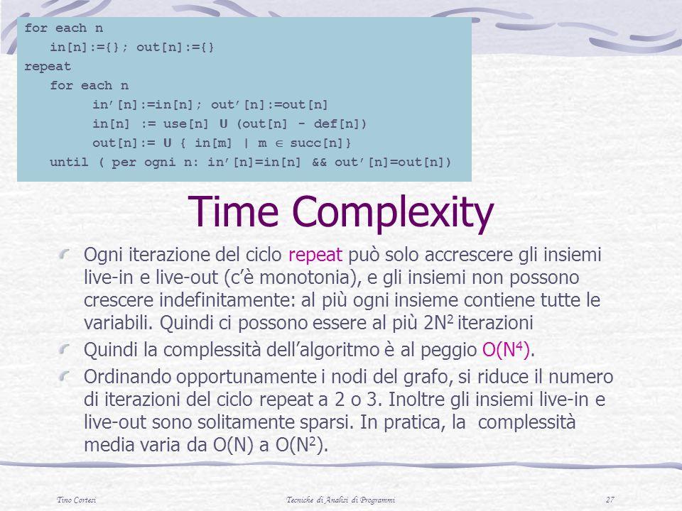 Tino CortesiTecniche di Analisi di Programmi 27 Time Complexity Ogni iterazione del ciclo repeat può solo accrescere gli insiemi live-in e live-out (cè monotonia), e gli insiemi non possono crescere indefinitamente: al più ogni insieme contiene tutte le variabili.