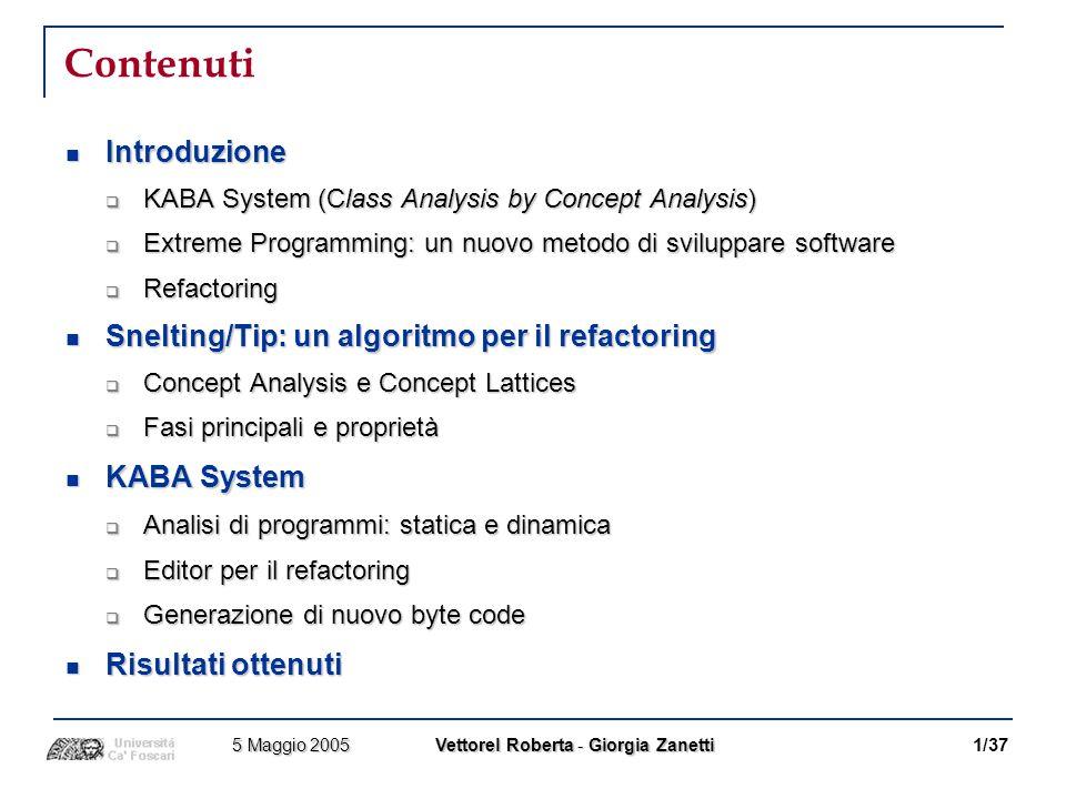 Introduzione [1] Presentazione di KABA System KABA - KlassenAnalyse mit BegriffsAnalyse – Sistema automatico per il Refactoring di una gerarchia di classi Java (Java Class Hierarchy) rispetto al reale utilizzo di un insieme di specifici programmi (Client Programs).