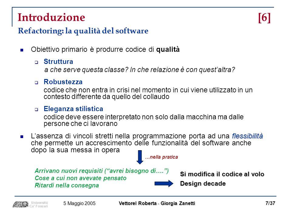 Algoritmo Snelting/Tip [10] Esempio utilizzato in ogni fase dellalgoritmo 18/37 5 Maggio 2005 Vettorel Roberta - Giorgia Zanetti 5 Maggio 2005 Vettorel Roberta - Giorgia Zanetti Class A { int x, y, z; void f() { y = x; } Class B extends A { void f() { y++; } void g() { x++; f(); } void h() { f(); x--; } Class Client { public static void main(String[] args) { A a1 = new A(); A a2 = new A(); B b1 = new B(); B b2 = new B(); a1.x = 17; a2.x = 42; if (...) { a2 = b2; } a2.f(); b1.g(); b2.h(); }