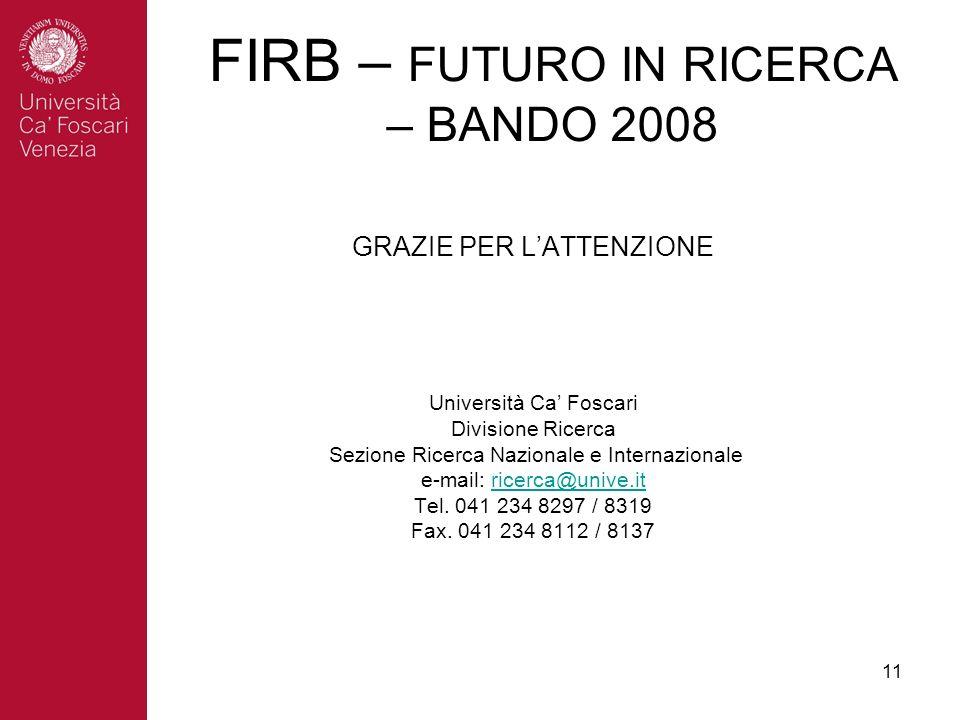 11 GRAZIE PER LATTENZIONE Università Ca Foscari Divisione Ricerca Sezione Ricerca Nazionale e Internazionale e-mail: ricerca@unive.itricerca@unive.it Tel.
