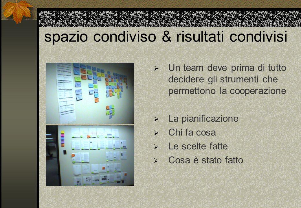 spazio condiviso & risultati condivisi Un team deve prima di tutto decidere gli strumenti che permettono la cooperazione La pianificazione Chi fa cosa