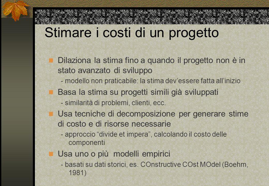 Stimare i costi di un progetto Dilaziona la stima fino a quando il progetto non è in stato avanzato di sviluppo - modello non praticabile: la stima de