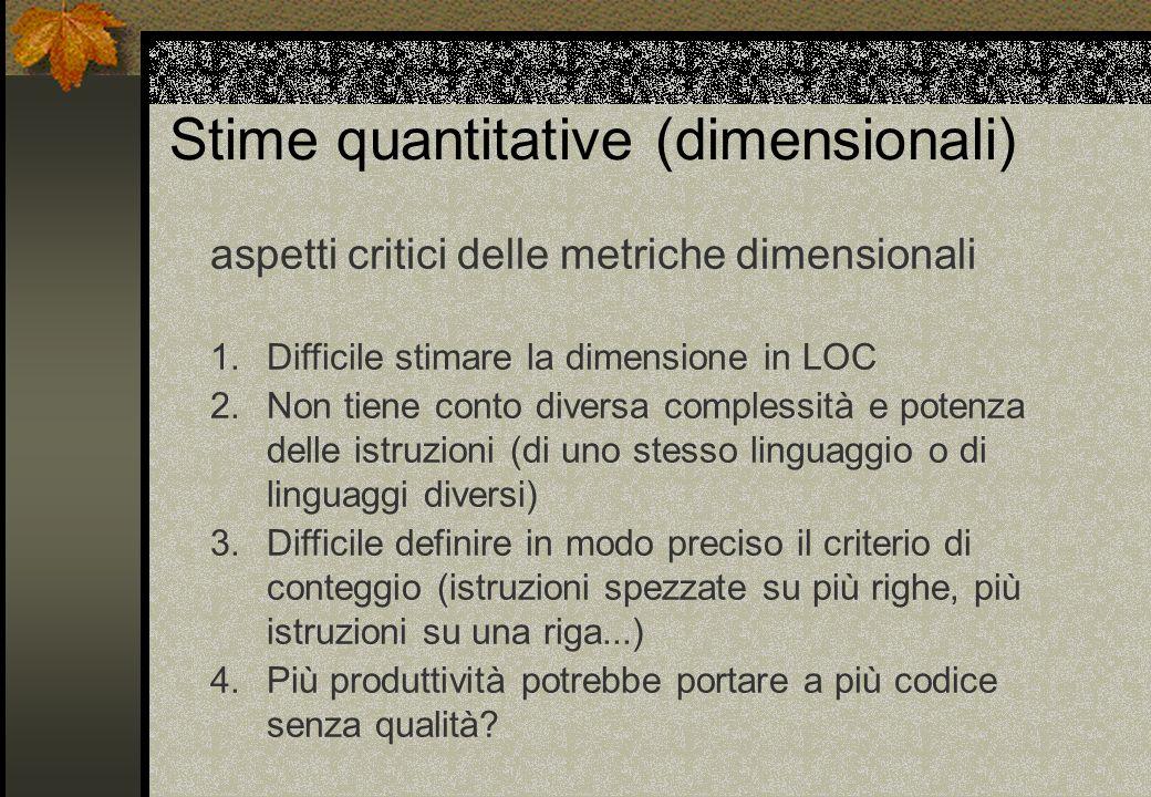 Stime quantitative (dimensionali) aspetti critici delle metriche dimensionali 1.Difficile stimare la dimensione in LOC 2.Non tiene conto diversa compl