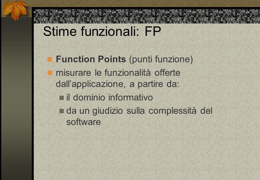 Stime funzionali: FP Function Points (punti funzione) misurare le funzionalità offerte dallapplicazione, a partire da: il dominio informativo da un gi
