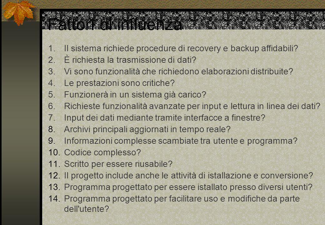 Fattori di influenza 1.Il sistema richiede procedure di recovery e backup affidabili? 2.È richiesta la trasmissione di dati? 3.Vi sono funzionalità ch
