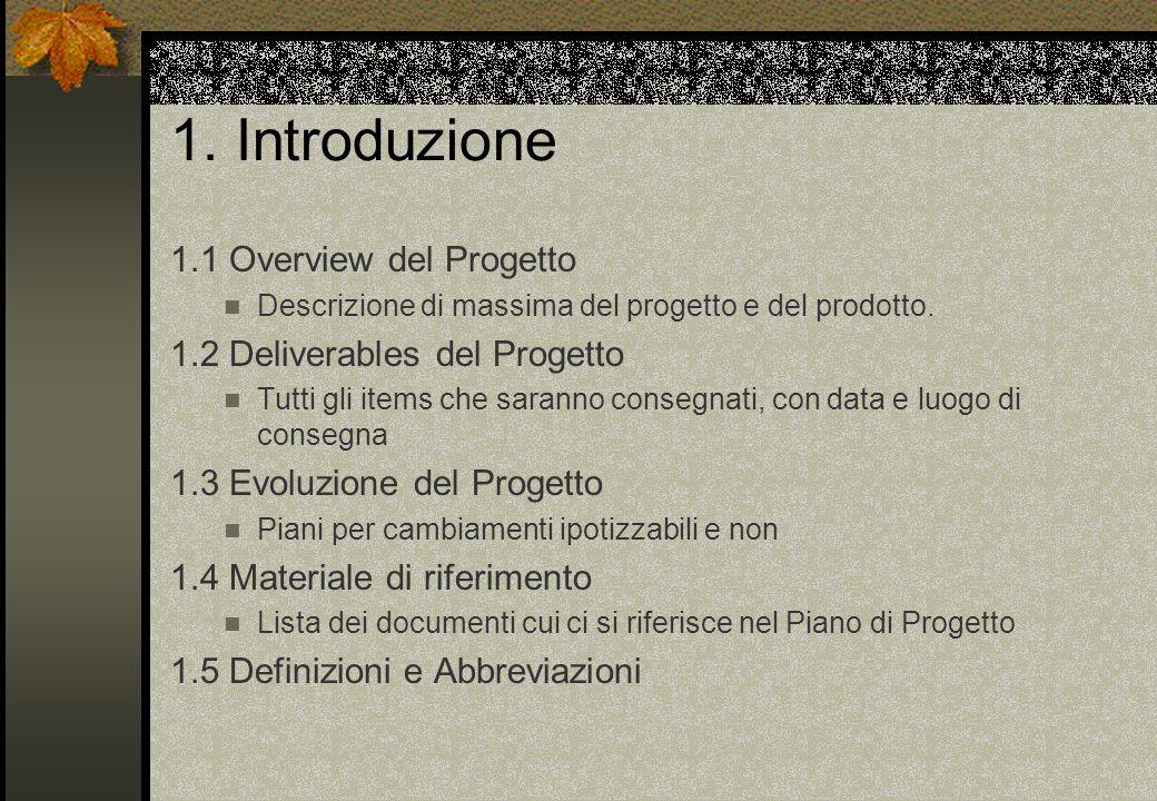 1. Introduzione 1.1 Overview del Progetto Descrizione di massima del progetto e del prodotto. 1.2 Deliverables del Progetto Tutti gli items che sarann