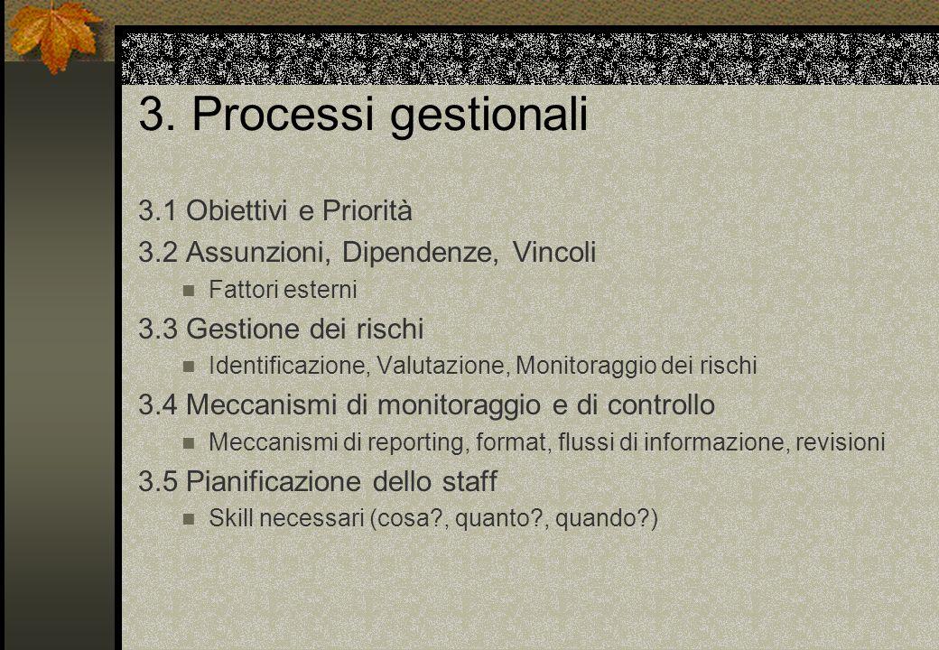 3. Processi gestionali 3.1 Obiettivi e Priorità 3.2 Assunzioni, Dipendenze, Vincoli Fattori esterni 3.3 Gestione dei rischi Identificazione, Valutazio