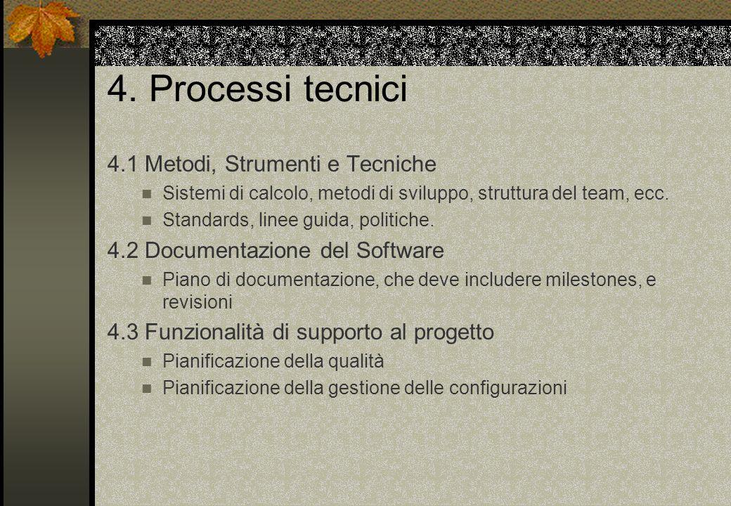 4. Processi tecnici 4.1 Metodi, Strumenti e Tecniche Sistemi di calcolo, metodi di sviluppo, struttura del team, ecc. Standards, linee guida, politich