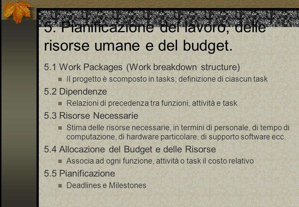 5. Pianificazione del lavoro, delle risorse umane e del budget. 5.1 Work Packages (Work breakdown structure) Il progetto è scomposto in tasks; definiz