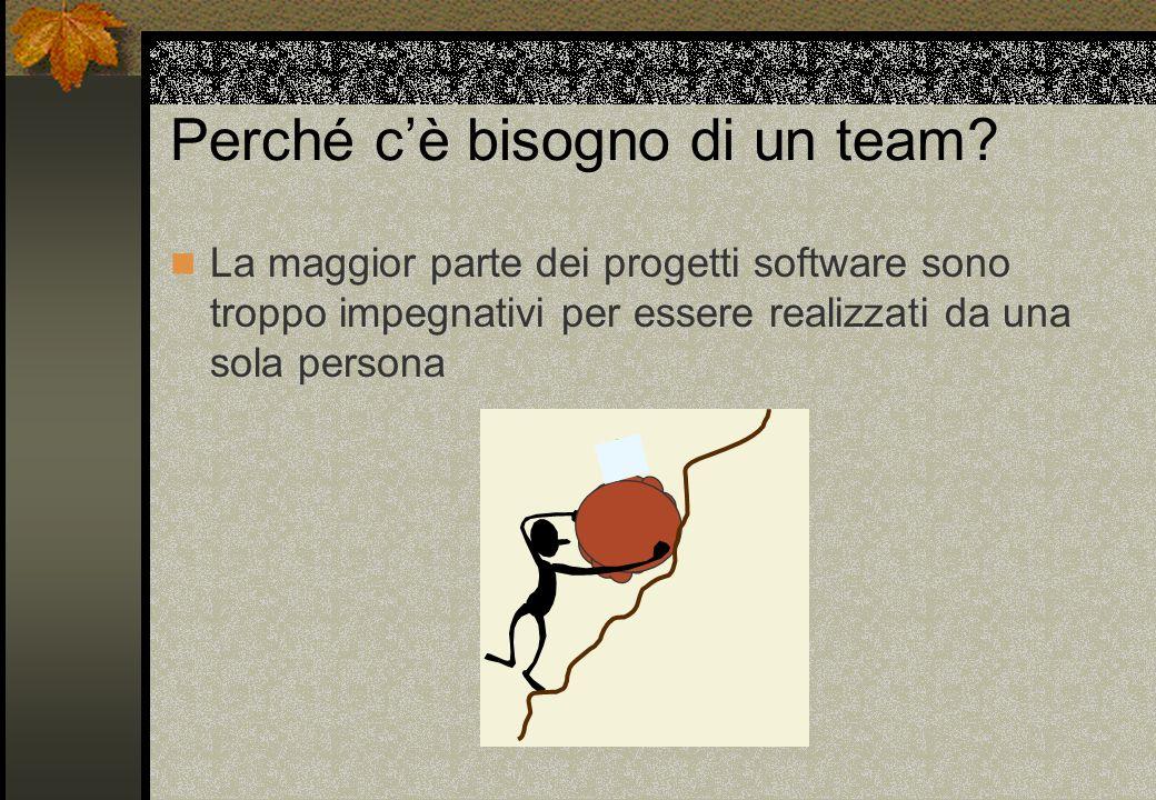 Perché cè bisogno di un team? La maggior parte dei progetti software sono troppo impegnativi per essere realizzati da una sola persona