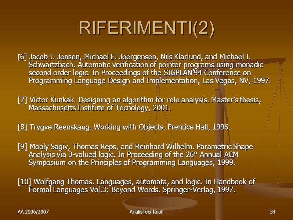 AA 2006/2007Analisi dei Ruoli34 RIFERIMENTI(2) [ 6] Jacob J.