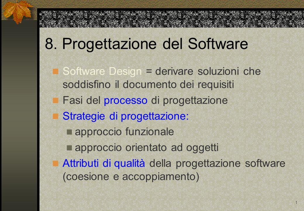 1 8. Progettazione del Software Software Design = derivare soluzioni che soddisfino il documento dei requisiti Fasi del processo di progettazione Stra