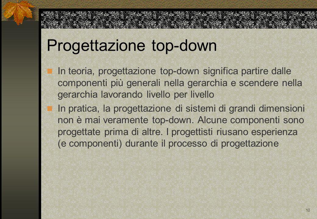 10 Progettazione top-down In teoria, progettazione top-down significa partire dalle componenti più generali nella gerarchia e scendere nella gerarchia