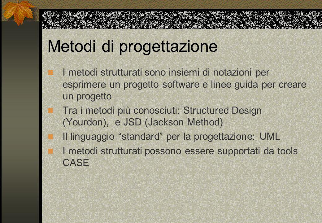 11 Metodi di progettazione I metodi strutturati sono insiemi di notazioni per esprimere un progetto software e linee guida per creare un progetto Tra