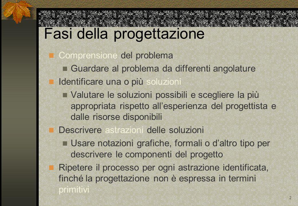 2 Fasi della progettazione Comprensione del problema Guardare al problema da differenti angolature Identificare una o più soluzioni Valutare le soluzi