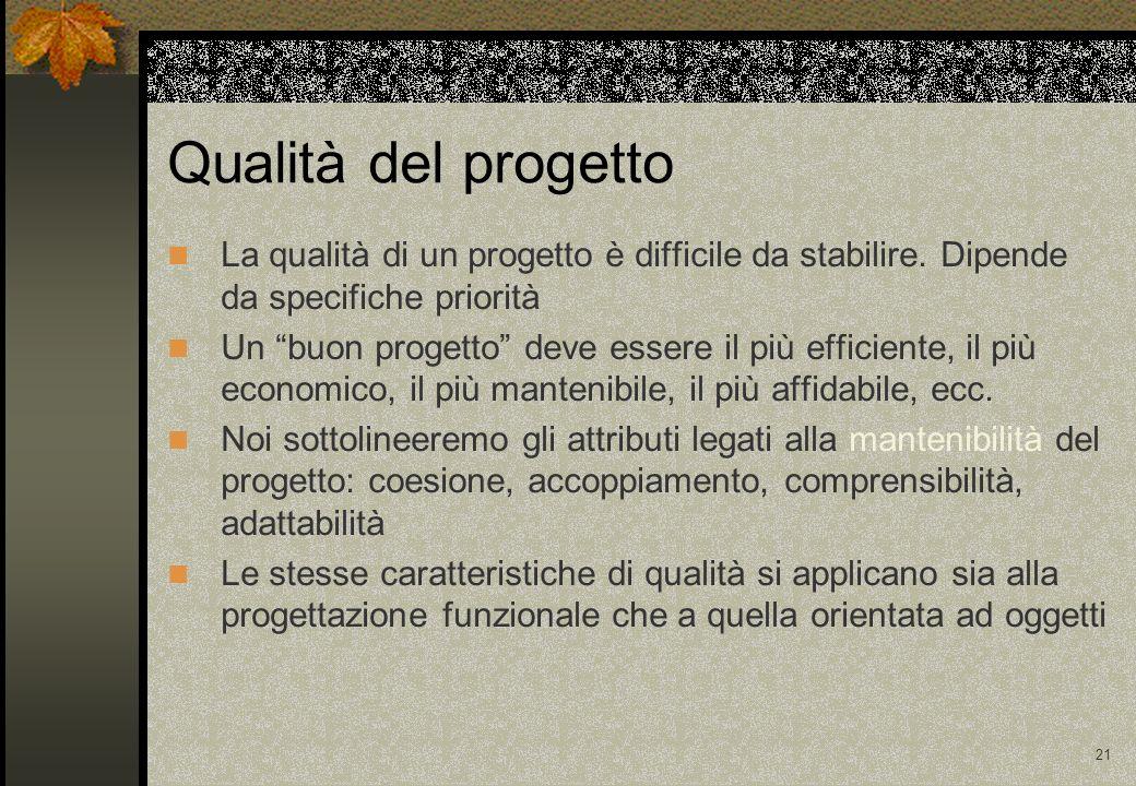 21 Qualità del progetto La qualità di un progetto è difficile da stabilire. Dipende da specifiche priorità Un buon progetto deve essere il più efficie