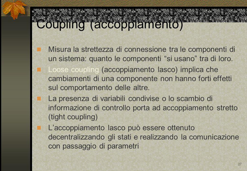 27 Misura la strettezza di connessione tra le componenti di un sistema: quanto le componenti si usano tra di loro. Loose coupling (accoppiamento lasco