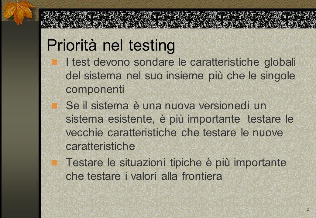 3 Dati di test Linsieme di input che devono essere costruiti per testare il sistema Casi di test Linsieme di input per testare il sistema e gli output previsti in corrispondenza di questi input se il sistema soddisfa la sua specifica Dati di test e casi di test