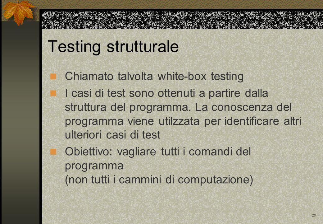 20 Chiamato talvolta white-box testing I casi di test sono ottenuti a partire dalla struttura del programma. La conoscenza del programma viene utilzza