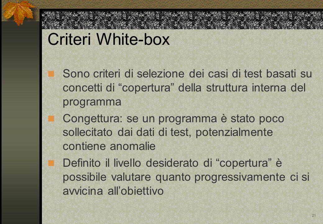 21 Criteri White-box Sono criteri di selezione dei casi di test basati su concetti di copertura della struttura interna del programma Congettura: se u